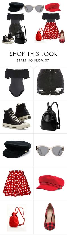 """""""2 outfits, 1 swimsuit"""" by caitlintol on Polyvore featuring Norma Kamali, Topshop, Converse, Manokhi, Parasol, Meraki and Mix No. 6"""