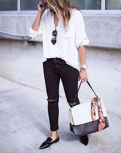 Perfect combo: White button up blouse front tucked into skinny black jeans with pointy patent leather loafers. | LAStyle SincerelyJules1