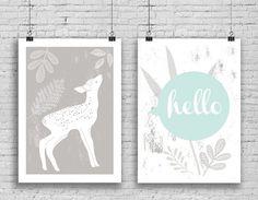 Hello Deer Art Print Set Of Two Digital prints by MelimeBabyArt