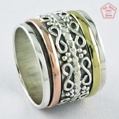Sz 7.5 US, CLASSIC IMPRESSIVE LOOK 925 STERLING SILVER SPINNER RING,R4464 #SilvexImagesIndiaPvtLtd #Spinner #AllOccasions