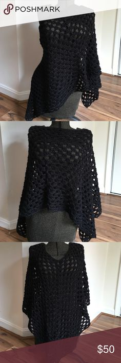 Handmade Black Sparkle Poncho Handmade by me. Worn once. High quality. Large poncho wrap. Will fit most sizes. Casual or dress. Versatile and unique. Accessories Scarves & Wraps