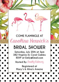 Flamingo Bridal shower invitation, tropical bridal shower, polka dots black and white, gold glitter, bridal shower themes by WonderBash