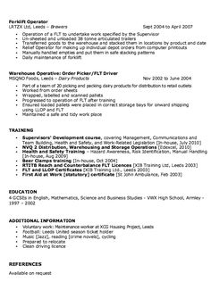 sample forklift operator resume resume ideas pinterest