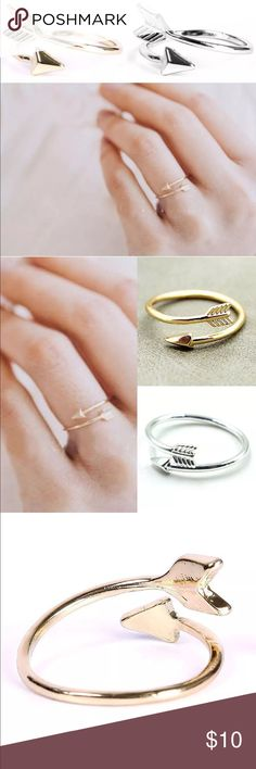 ❤️Coming Soon!❤️Gold Or Silver Arrow Wrap Rings These Arrow Rings are so on point! 😂 Adjustable wrap rings in 16k plated gold or plated silver. Ships same or next business day with 2-3 day priority mail shipping. Ring will arrive in a gift box. More gorgeous jewelry available. Use the bundle feature to save 10% and get combined shipping Jessie's Accessories Jewelry Rings