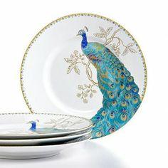 """Peacock Garden White 6"" Appetizer Plates, Set of 4"""