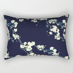 Cherry blossoms in Navy Rectangular Pillow