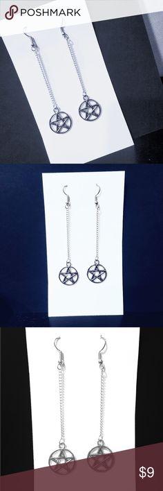 Silver Tone Pentagram Drop Earrings Silver Tone Dangle Drop Earrings.  Pentacle, Pentacles, wiccan, pagan Jewelry Earrings