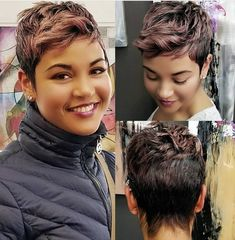 The Effective Pictures We Offer You About short black hairstyles plus size A qu Short Sassy Hair, Short Pixie, Short Hair Cuts, Pixie Cuts, Cute Hairstyles For Short Hair, Curly Hair Styles, Growing Out Short Hair Styles, Braided Hairstyles, Wedding Hairstyles
