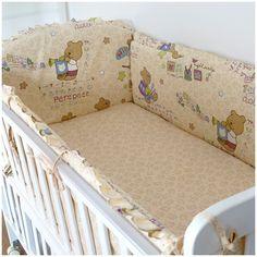 Promotion! 6pcs Bear baby bedding bumper set newborn bedding cot nursery cot bedding kit (bumpers+sheet+pillow cover)