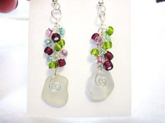 Sea Glass Earrings White Sea Glass Earrings by NauticalSeaGlass