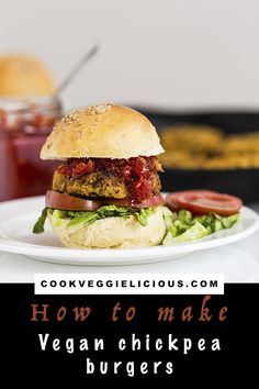 These vegan chickpea burgers from London's Cookery School have to be tried. They're surprisingly easy to put together with a lovely hint of spice. #vegan #veganburger #chickpea #veggieburger #vegetarian #summer