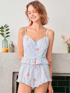 Cami Tops, Sleepwear Women, Pajamas Women, Night Suit For Girl, Fruit Print, Pj Sets, Pyjamas, Women Lingerie, Pajama Set