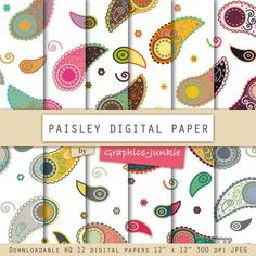 Paisley digital paper by GraphicsJunkie on Etsy, $4.80