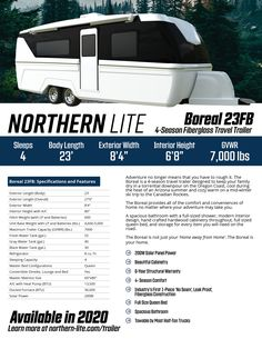 Northern Lite has launched a travel trailer, the Boreal Designed to bring all of the comforts of home wherever adventure may take you. Canadian Winter, Canadian Travel, Canadian Rockies, Truck Camper, Camper Trailers, Best Travel Trailers, Thing 1, Rv Accessories, Oregon Coast