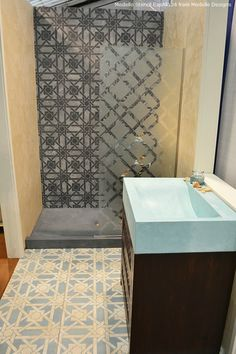 Stenciled floor and stenciled shower wall using Modello® Designs decorative custom stencils http://www.modellocustomstencils.com/