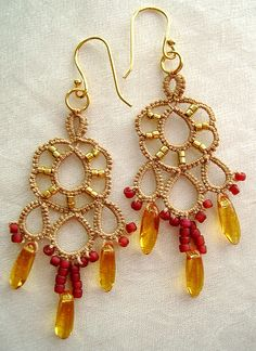 """""""Dream"""" earrings in tan and gold by yarnplayer, via Flickr"""