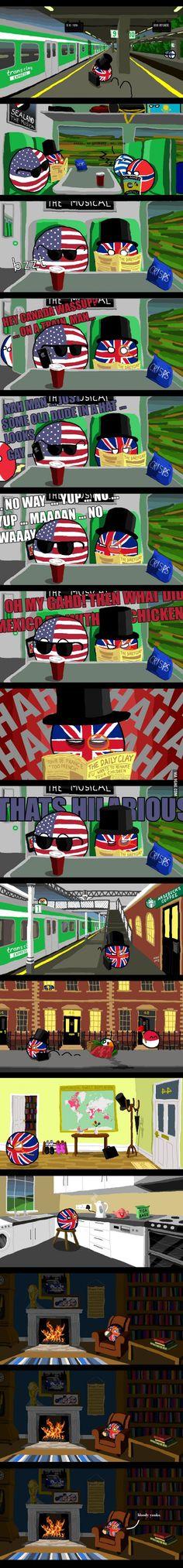 """please keep quiet on the train"" ( UK, USA, Greece, Ireland, Poland ) by arrz  #polandball #countryball #flagball"