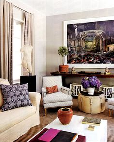 Living Room - Eclectic using strong colours done right with a melange of favourite and collected art & objects.