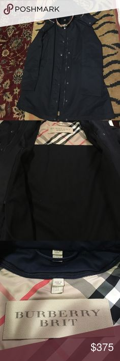 Burberry Brit Bowpark classic trench with warmer rain coat gently used still good as new. Color navy blue Burberry Jackets & Coats Trench Coats