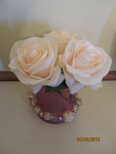Sold! But check out all the other cute items on our page! Pink Rose Vase Decor by MomsDownTime on Etsy #Etsy #roses #momsdowntime
