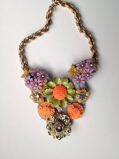 Electric Garden Party Statement Necklace- Heirloom Collection on Etsy, $83.00