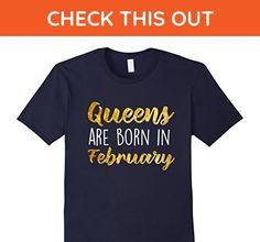 Mens Queens are Born in February Funny Birthday T-Shirt Medium Navy - Birthday shirts (*Amazon Partner-Link)
