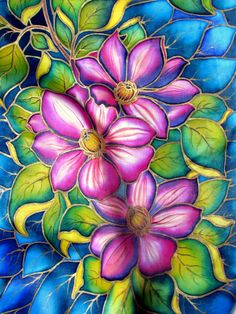 Hand painted Silk scarf 'Clematis. Hand by OlgaGorbunovaArt