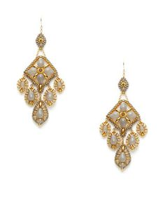 Gold & Grey Chandelier Earrings by Miguel Ases at Gilt