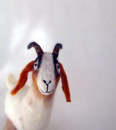Grethe  Felt Goat Felted  Art Marionette Puppet by TwoSadDonkeys, $92.00