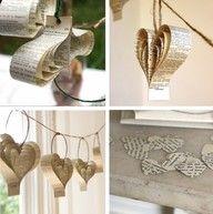 Newspaper Heart Ornaments