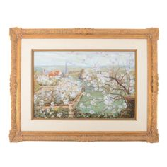 """Vintage French oil on canvas landscape by Antoine Blanchard (1910-1988), circa 1950. Signed """"A. Blanchard""""."""