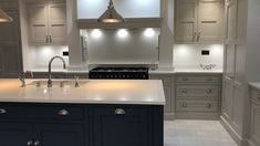 A beautiful example of one of our handmade kitchens, painted in a contrast of Dark Blue and Light grey with white quartz worktops and an undermounted sink Inframe Kitchen, Grey Shaker Kitchen, Blue Kitchen Island, Gray And White Kitchen, Kitchen Things, Kitchen Islands, Kitchen Cupboards, Kitchen Living, Kitchen Ideas