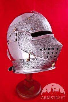 Armet Helmet Medieval SCA Etched Armor