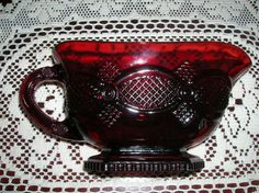 Avon Red Glass Cape Cod 1876   Ruby Red Glass gravy boat - want 1