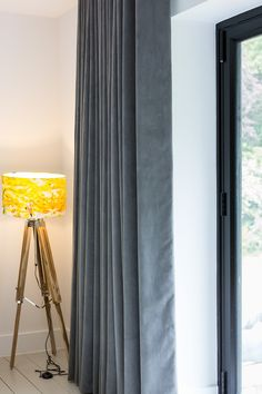 Yellow & Grey Blinds & Curtains for Bi Fold Doors - Sophie Sews Curtains For Bifold Doors, Door Curtains, Curtains With Blinds, Living Room Colors, Living Room Bedroom, Grey Blinds, Rear Extension, Industrial Bedroom, Outdoor Dining