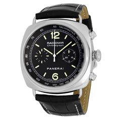 Panerai Automatic Chronograph -SS with black leather strap with luminescent hands and markers with a 45 mm case...Wow!
