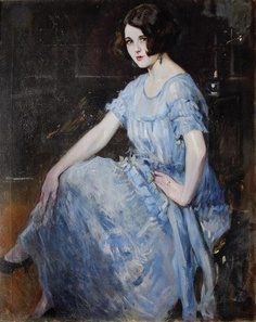 Alejandro Christophersen    Portrait of a young woman in a blue dress.