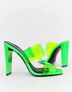 Shop the latest ASOS DESIGN Hayward clear block heeled mule in neon green trends with ASOS! Clear Block Heels, Neon Heels, Green Pictures, Green Shoes, Designer Heels, Asos, Pretty Outfits, Pretty Clothes, Sock Shoes