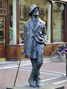 Statue of James Joyce in Dublin Ireland. I posed with this statue, my Gramma has the picture