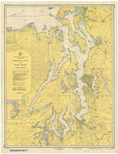 Puget Sound & Admiralty Inlet Historical Map 1948