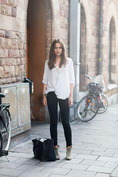 white sheer shirt + black trousers
