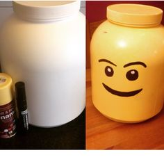 Lego storage made of an empty protein tub
