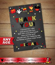 This item is unavailable Thank You Template, Printable Thank You Cards, Mickey Mouse Birthday, 3rd Birthday, Birthday Ideas, Birthday Wishes For Myself, Color Card, Party Printables, Party Invitations