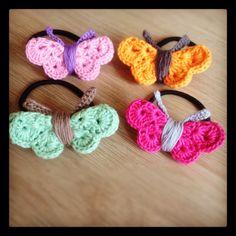 Crochet butterfly hairbands