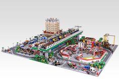 Giant LEGO CITY | OliveSeon | Flickr Lego Minecraft, Lego Moc, City Layout, Lego Boards, Lego Modular, Lego Storage, Cool Lego Creations, Lego Architecture, Lego Design