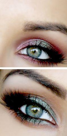 Berry & emerald smokey eyes