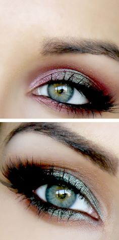 Berry & emerald smokey eyes