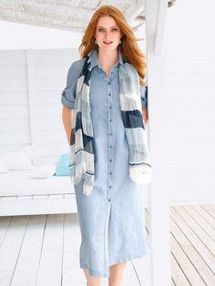 Anna Aura Kleid aus 100% Leinen  blau