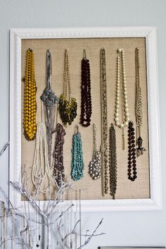 DIY Jewelry Holder - The burlap is so much cuter than the screen I've seen on other versions... #Jewelry #Organization