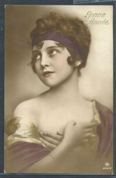 PX078-ART-DECO-BEAUTIFUL-FLAPPER-LADY-HEADBAND-NAKED-SHOULDERS-Tinted-PHOTO-pc